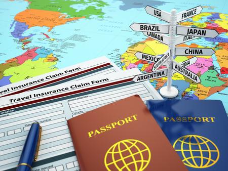 seguros: Formulario de solicitud de seguro de viaje, pasaporte y el signo del destino en el mapa. Efecto DOF. 3d