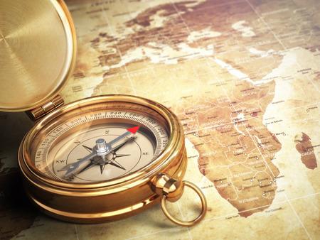 brujula: Compás de la vendimia en el mapa del viejo mundo con efecto DOF. Concepto del recorrido. 3d