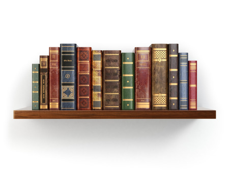 books: Vintage old books on shelf isolated on white. 3d