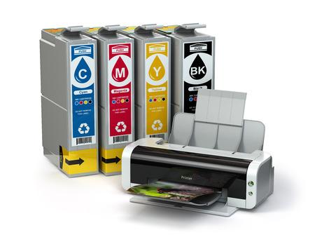 Inkjet-Patronen und CMYK-Drucker isoliert auf weiß. 3d