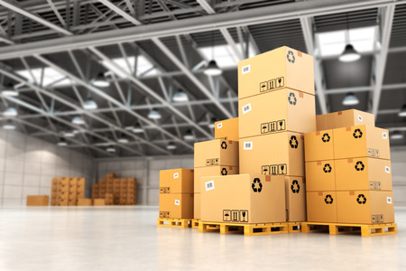 product box: Delivery concept. Boxes on pallet in the warehouse. 3d Stock Photo