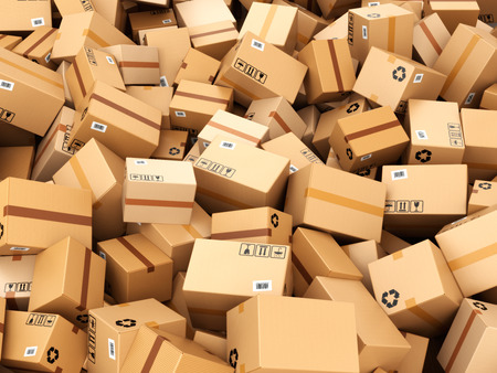 gift packs: Stack of cardboard delivery boxes or parcels. Warehouse concept background. 3d