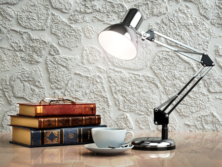 Vintage books coffee cup and desk lamp on the table. Place of work.  3d Standard-Bild