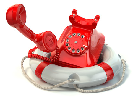preserver: Help or support service concept. Telephone and life preserver isolated on white. 3d