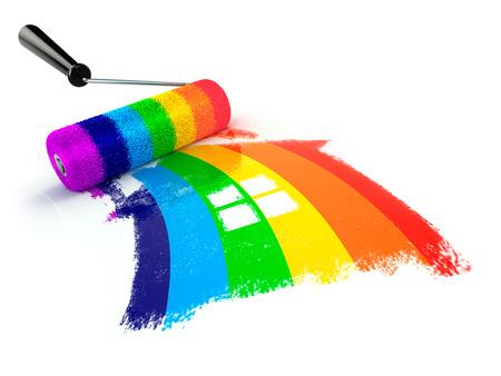 Construcrion のコンセプトです。虹色の家の記号のローラーのブラシ。3 d