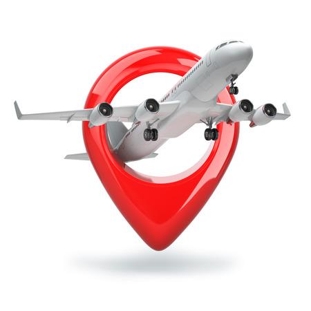 aeroplano: Concetto di viaggio aereo. Puntatore Aeroporto. Aereo e pin isolati su bianco. 3d Archivio Fotografico