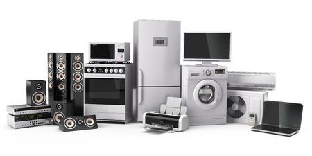 servicio domestico: Electrodomésticos. Cocina a gas, tv cine, refrigerador de aire acondicionado microondas, ordenador portátil y una lavadora. 3d