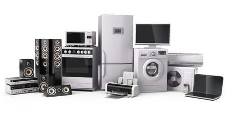 home icon: Home appliances. Gas cooker, tv cinema, refrigerator air conditioner microwave, laptop and washing machine. 3d