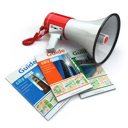 travel guide: Travel guide books  and megaphone on white isolated background. Audioguide concept.
