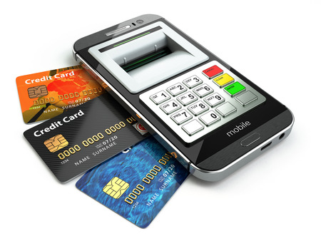 mobile banking: Mobile banking concept. Smartphone as ATM and credit cards. 3d Stock Photo