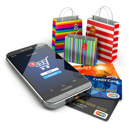 E-commerce. Online internet shopping. Mobile phone, shopping bags and credirt cards.  3d Foto de archivo