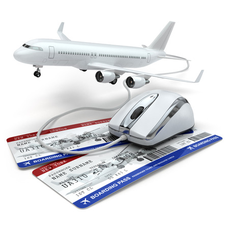 Online booking flight or travel concept. Computer mouse, airline tockets and airplane. 3d