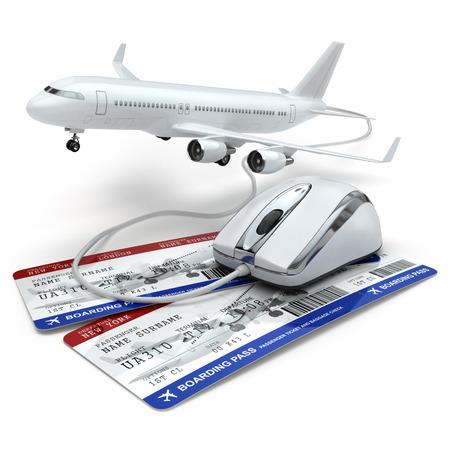 Reserva de vuelo en línea o concepto de viaje. Ratón del ordenador, tockets aerolínea y el avión. 3d Foto de archivo