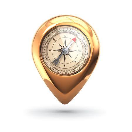 bussola: Concetto di navigazione. Pin con bussola isolato su bianco. 3d
