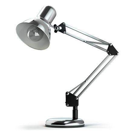 Vintage metal desk lamp isolated on white.  3d