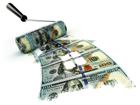 pay wall: Business financial renovation concept, Roller brush and house from dollar. 3d