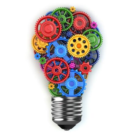 Glühbirne und Getriebe. Perpetuum mobile Idee, Konzept. 3d