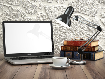 Laptop with books and coffee cup on the vintage desk. Modern stylish workspace. 3d Stock Photo