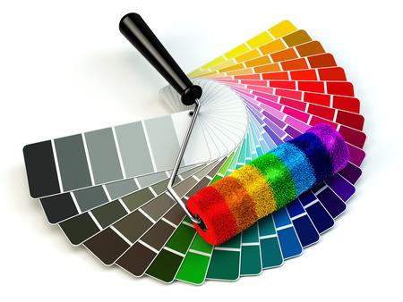 pintor: Cepillo del rodillo y la paleta de gu�a de color en los colores del arco iris. 3d Foto de archivo