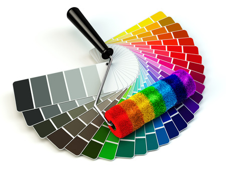 paint cans: Roller brush and color guide palette in rainbow colors. 3d