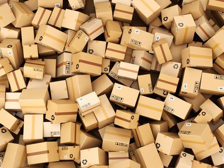 cajas de carton: Pila de cajas de cartón o de entrega de paquetes. Concepto de fondo de almacenes. 3d