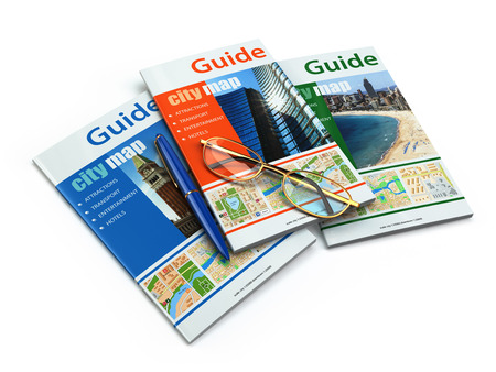 guidebook: Travel guide books on white isolated background. 3d