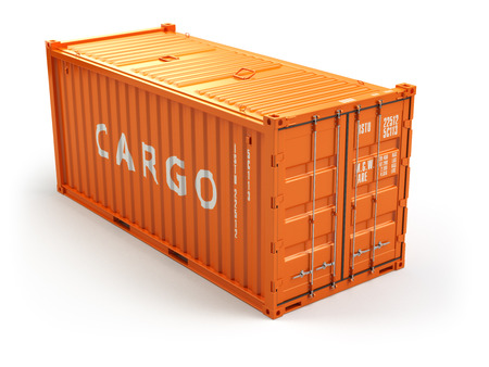 Cargo shipping container isolated on white. Delivery. 3d Stock Photo