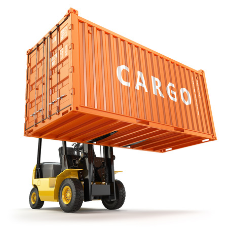 international shipping: Forklift handling the cargo shipping container box. 3d