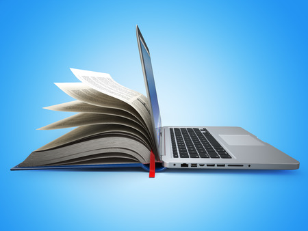 E-learning. Concept of education. Internet labrary. Book and Laptop. 3d Stock Photo