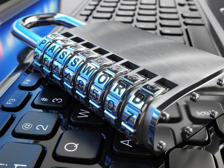 alerta: Concepto de seguridad de Internet. Portátil y bloqueo de seguridad con contraseña. 3d