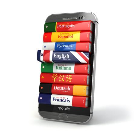 aprendizaje: E-learning. Diccionario en el mobil. Aprender idiomas en línea. 3d