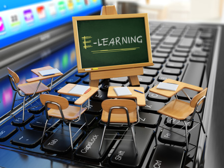workshop seminar: E-learning concept. Schooldesk and chalkboard on the laptop keyboard. 3d