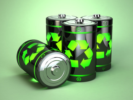 environmental conservation: Green battery recycling concept. Eco background. 3d