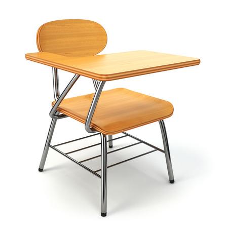 Houten school bureau en stoel op wit wordt geïsoleerd. 3d Stockfoto