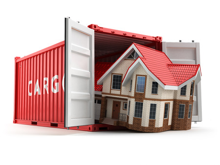 storage container: Moving house. Home and cargo shipping container isolated on white. Delivery. 3d