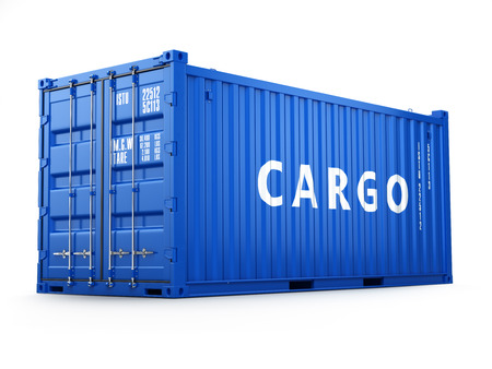 shipped: Cargo shipping container isolated on white. Delivery. 3d Stock Photo