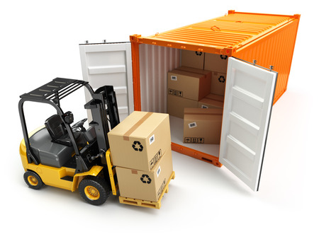 MARITIME: Forklift handling the cargo shipping container box. 3d