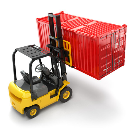 handling: Forklift handling the cargo shipping container box. 3d
