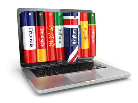 computer language: E-learning. Learning languages online. Dictionaries and laptop. 3d