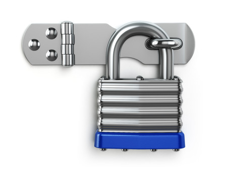 lock: Padlock hanging on lock hinge. Security concept. 3d