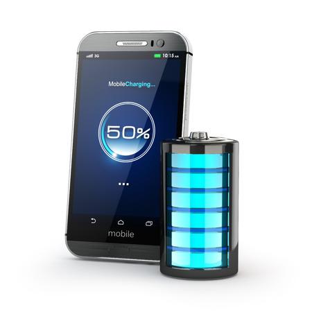 pila: concepto de carga del teléfono móvil. Smartphone y carga de la batería. 3d Foto de archivo