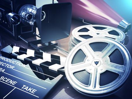 Video, movie, cinema vintage concept. Retro camera, reels and clapperboard. 3d