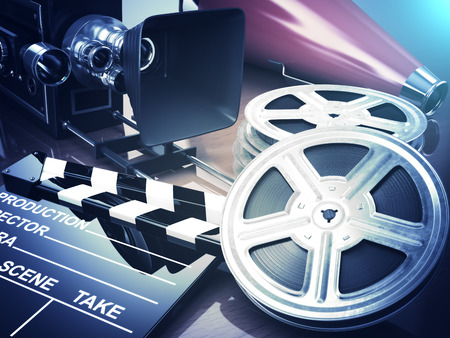 old movie: Video, movie, cinema vintage concept. Retro camera, reels and clapperboard. 3d
