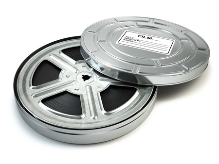 filmroll: Film reel and box. Video, movie, cinema vintage concept. 3d Stock Photo