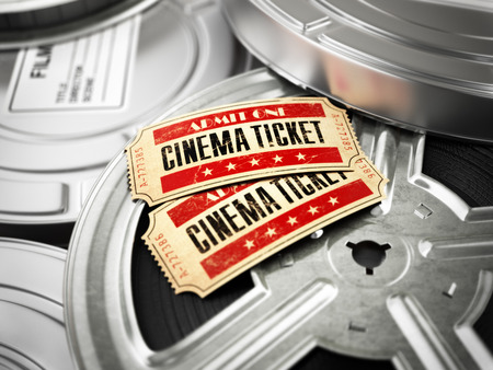 film industry: Movie, cinema vintage concept. Tickets on retro film reels and boxes. 3d Stock Photo