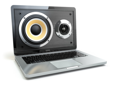 audio: Digital audio or music software concept. Laptop and loudspeaker. 3d Stock Photo