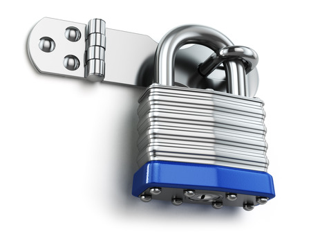 door lock: Padlock hanging on lock hinge. Security concept. 3d