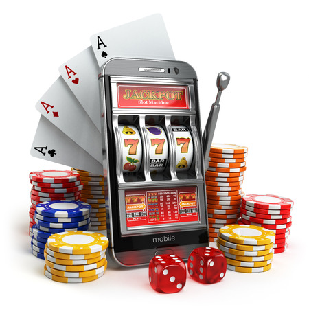 Online casino concept. Mobile phone, slot machine, dice and cards. 3d