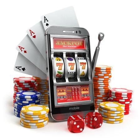 Online-Casino-Konzept. Handy, Spielautomaten, Würfel und Karten. 3d