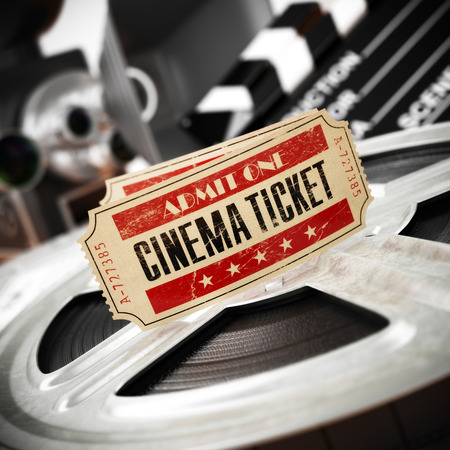 ticket icon: Movie, cinema vintage concept. Tickets on retro film reels and boxes. 3d Stock Photo